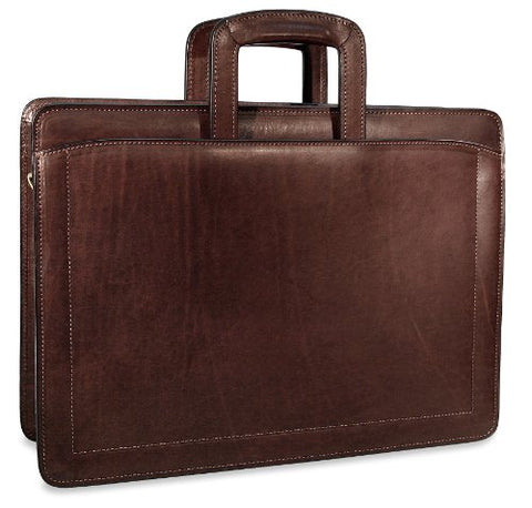 [Personalized Initials Embossing]Jack Georges Belting Triple Gusset Top Zip Leather Briefcase in Brown