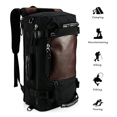 Ibagbar Canvas Backpack Travel Bag Hiking Bag Rucksack Duffel Bag Laptop Backpack Computer Bag