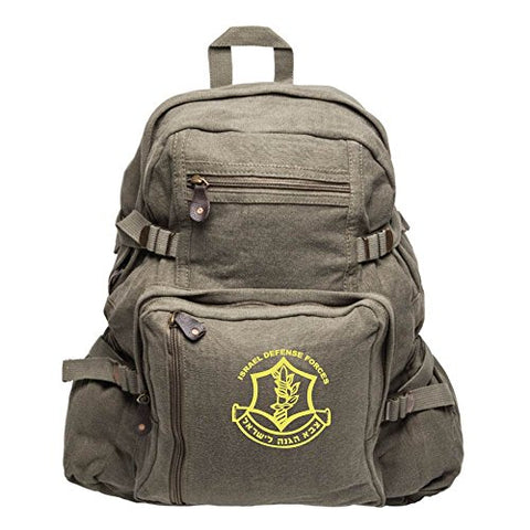 IDF Israel Defense Forces Emblem Symbol Army Sport Heavyweight Canvas Backpack Bag in Olive &