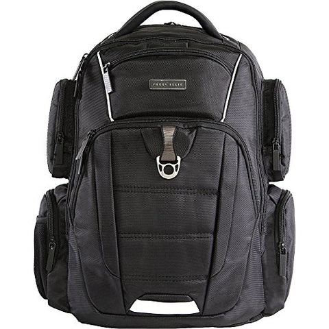 Perry Ellis Men'S 9-Pocket Professional Laptop P350 Business Backpack, Black, One Size