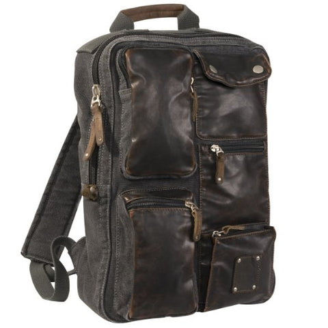 Stylish Washed Canvas Backpack W/Leather Trim, 0830 Black