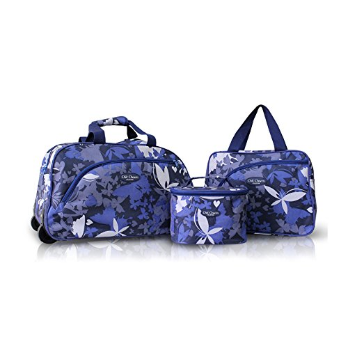 3Pc Rolling Wheel Travel Bag And Cosmetic Bag Purse Tote Set Blue Butterflies