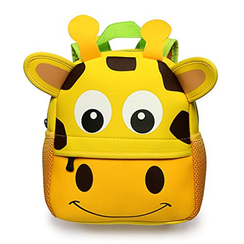 "Hipiwe Little Kid Toddler Backpack Baby Boys Girls Kindergarten Pre School Bags Cute Neoprene Cartoon Backpacks for Children 1-5 Years Old,Size 9.45""x3.54""x9.84"" (Giraffe)"