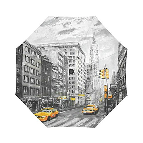 InterestPrint New York City Art Yellow Taxi Windproof Compact One Hand Auto Open and Close