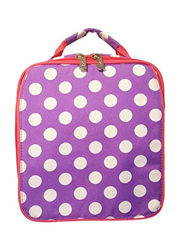Monogrammed Purple Polka Dot Back To School Lunch Tote