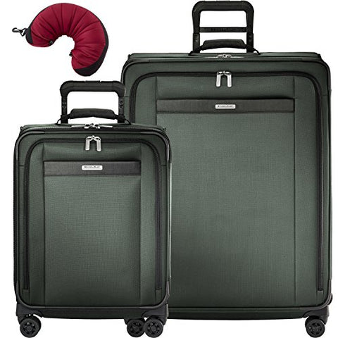 Briggs & Riley Transcend VX 3 Piece Spinner Set | Wide Carry-On Expandable Spinner | Large Expandable Spinner | Travel Pillow (Rainforest)