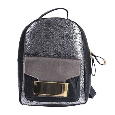 Damara Womens Shiny Snakeskin-pattern Faux Leather Lines Large Backpack,Silver