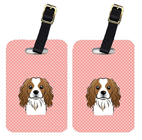 Caroline'S Treasures Bb1224Bt Pair Of Checkerboard Pink Cavalier Spaniel Luggage Tags , Large,