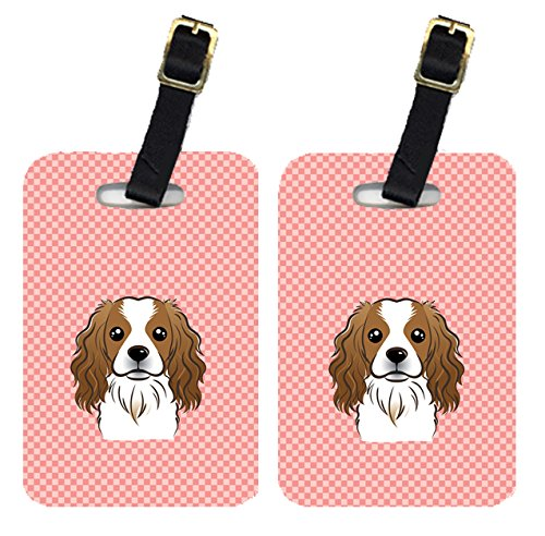 Caroline's Treasures BB1224BT Pair of Checkerboard Pink Cavalier Spaniel Luggage Tags , Large, multicolor