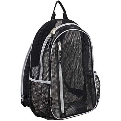 Eastsport Active Mesh Backpack with Padded Adjustable Straps, Black/Gray Trim