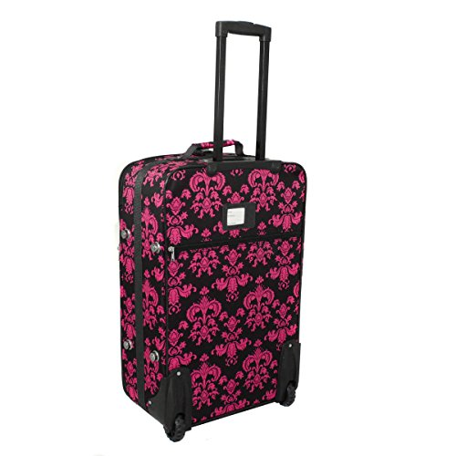 World Traveler Damask Ll Expandable Upright Luggage Set, Black Pink Damask Ll
