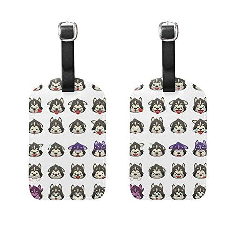 Set of 2 Luggage Tags Huskies Dog Emoji Emoticon Suitcase Labels Travel Accessories