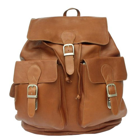 Piel Leather Large Buckle-Flap Backpack, Saddle, One Size