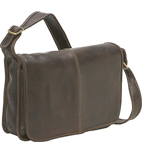 Ledonne Distressed Leather Classic Flap Over Messenger Bag, Choc