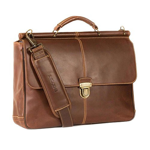 "Boconi Bryant Dowel Rod 15"" Laptop Leather Briefcase in Mahogany"