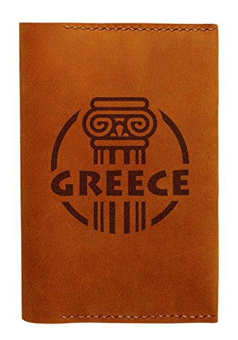Greece Travel Stamps Handmade Genuine Leather Passport Holder Case Hlt_01