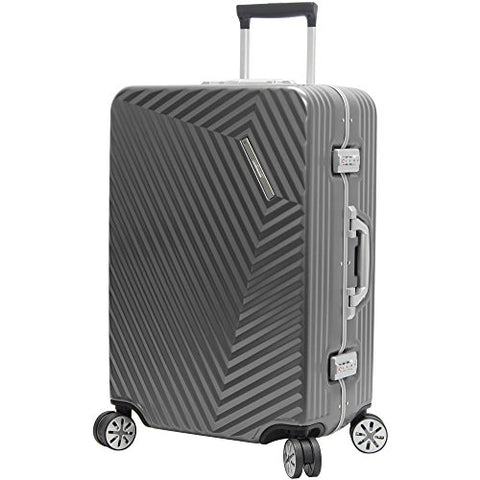 "Andiamo Elegante Aluminum Frame 28"" Large Zipperless Luggage With Spinner Wheels (28in, Black Pearl)"