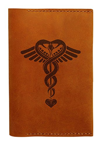Medical Symbol Handmade Genuine Leather Passport Holder Case Hlt_01