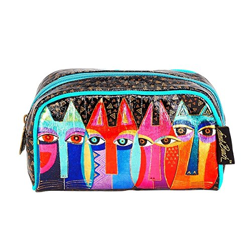 Laurel Burch Tribal Feline Cats Foil Cosmetic Bag
