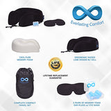 Everlasting Comfort 100% Pure Memory Foam Neck Pillow Airplane Travel Kit With Ultra Plush Velour
