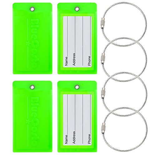 BlueCosto Flexible PVC Luggage Tags Suitcase Bag Labels - Fluorescent Green, 4 Pieces
