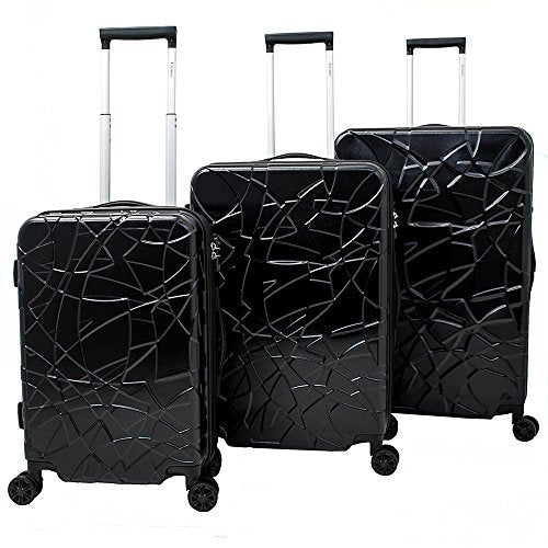 Chariot Crystal 3-Piece Expandable Lightweight Spinner Luggage Set, Black