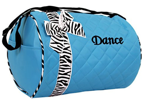 Dance bag - Quilted Zebra Duffle in Aqua/Turquoise