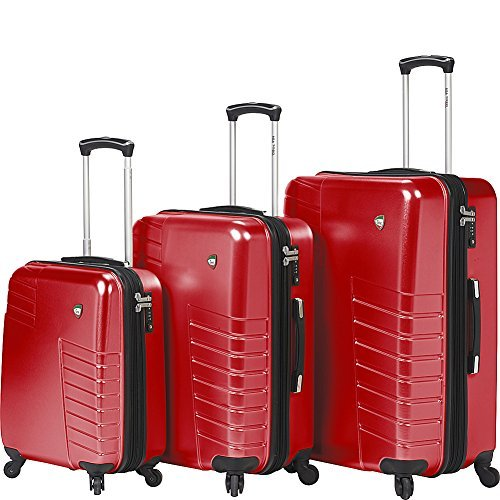 Mia Toro Mondavio Hardside Spinner Luggage 3 Piece Set, Red
