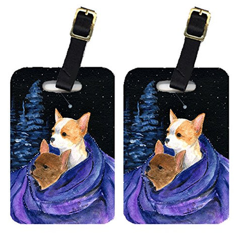 Carolines Treasures Ss8513Bt Starry Night Chihuahua Luggage Tag - Pair 2, 4 X 2.75 In.