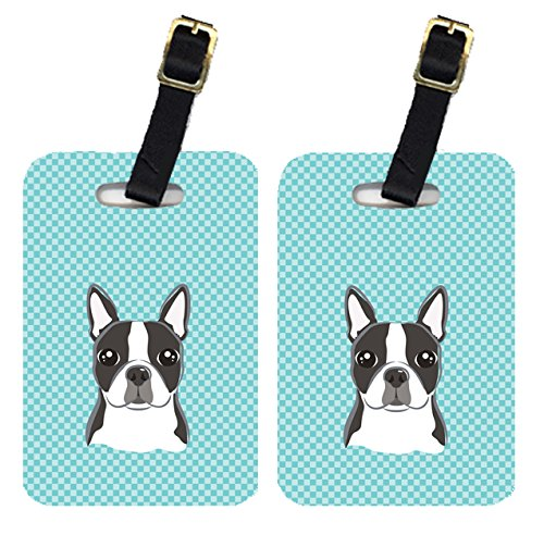 Caroline's Treasures BB1141BT Pair of Checkerboard Blue Boston Terrier Luggage Tags , Large, multicolor