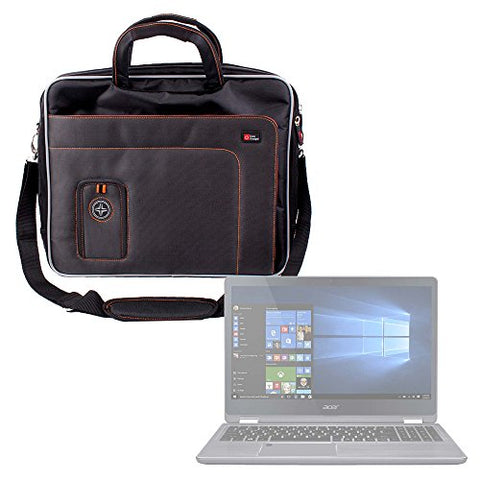DURAGADGET Black and Orange Padded Carry Bag/Case with Removable Shoulder Strap for The Acer Aspire