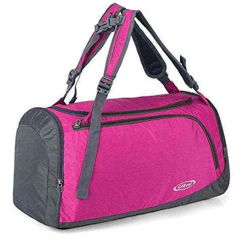 G4Free Lightweight Sports Gym Bag Travel Duffle Backpack with Shoes Compartment (Pink)