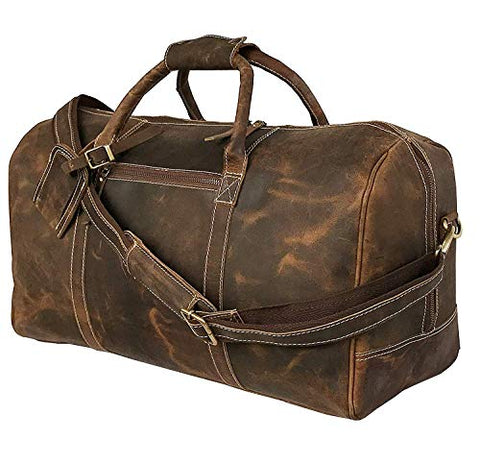 24 Inch Genuine Leather Duffel | Travel Overnight Weekend Leather Bag | Sports Gym Duffel for Men