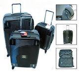 3 Pc Luggage Set Suitcases Spinner Bag Rolling Expandable Travel Trolley Black