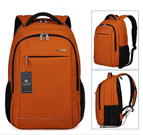 YAAGLE Mens Womens Oxford Multi-functional Multi-pocketed Large-capacity Waterproof Travel Sports Gym Backpack Laptop Tablet Case Book Computer Rucksack Schoolbag Black Orange Grey
