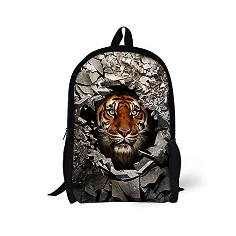 Bigcardesigns Kids Tiger Backpack Schoolbag Book Bag Teenagers Satchel