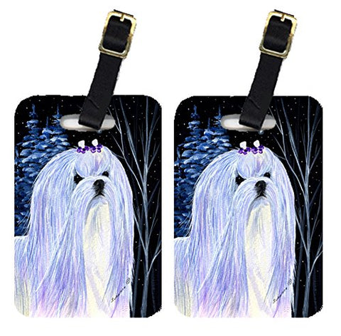 Caroline'S Treasures Ss8378Bt Starry Night Maltese Luggage Tags Pair Of 2, Large, Multicolor