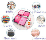Travel Luggage Organizer Packing Cubes,6 Pcs Travel Essential Bags in Bag, Waterproof Laundry Pouch