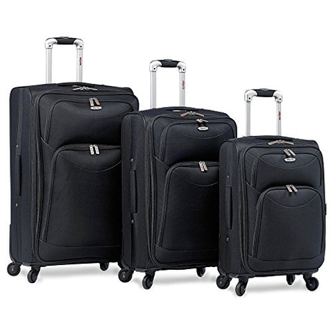 Dejuno The Brava 3-Piece Softside Spinner Upright, Black
