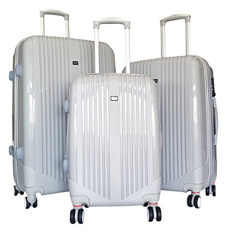 3 Pc Luggage Set Hardside Rolling 4Wheel Spinner Upright Carryon Travel Abs Gray