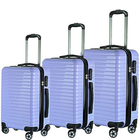 Brio Luggage Eco Light 3 Piece Hardside Spinner Luggage Set (Light Purple)