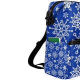 ColourLife Blue White Snowflakes Stylish Casual Shoulder Backpacks Laptop School Bags Travel Multipurpose Daypack for Women Girls Kids