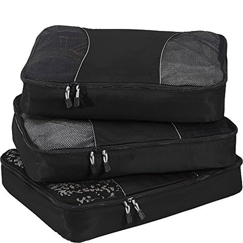 eBags Large Packing Cubes for Travel - 3pc Set - (Black)