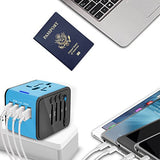 Castries Universal Travel Adapter, All-in-one Worldwide Travel Charger Travel Socket, International Power Adapter with 4 USB Ports, AC Plug for US EU UK AU & Asian Countries, Blue