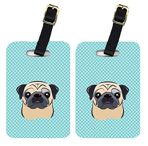 Caroline's Treasures BB1200BT Pair of Checkerboard Blue Fawn Pug Luggage Tags , Large, multicolor