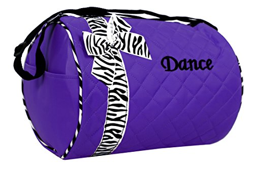 Dance bag - Quilted Zebra Duffle in Purple