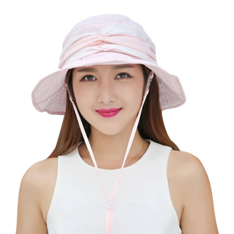 Fakeface Women Hunting Hats 360 Degrees Anti-UV Foldable Wide Brim Visor Summer Sun Hat Cap Lightweight Breathable Hiking Camping Fishing Cycling Bucket Hat Topee UV50+ Pink