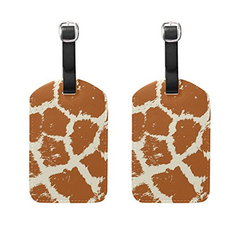 DEYYA Colorful Animal Skin Giraffe Luggage Tags for Suitcase Labels Bag Travel Accessories - Set of 2
