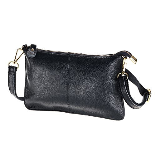 SEALINF Women's Cowhide Leather Clutch Handbag Small Shoulder Bag Purse (black)