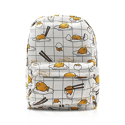 Finex Gudetama Lazy Egg Yolk White Canvas Popular Cute Costume Cartoon Casual Backpack with 15 inch Laptop Storage Compartment for College Student Daypack Travel Bag
